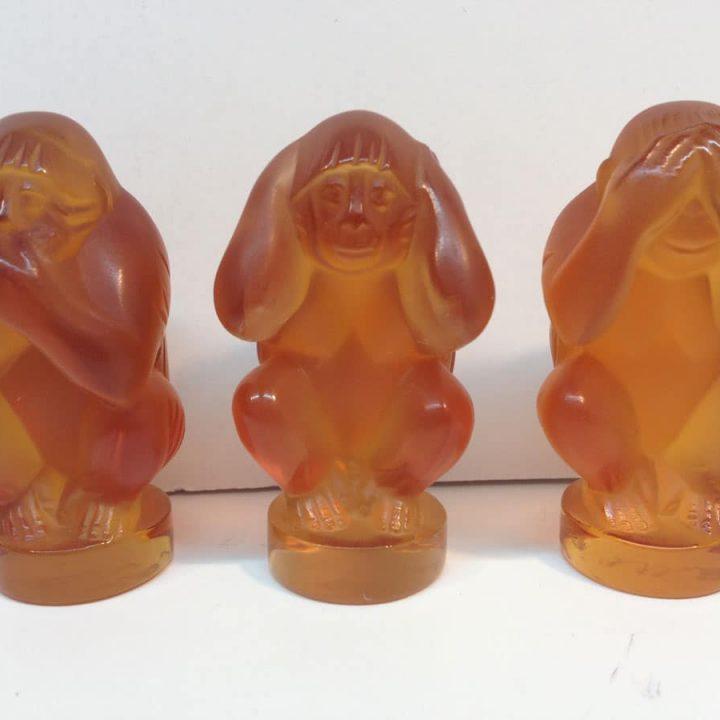 Lalique Amber Set 'Monkey See, Hear, Do'