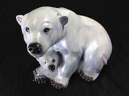 Mary Regat Signed Bronze 'Shelter Cove' Polar Bear with Cubs