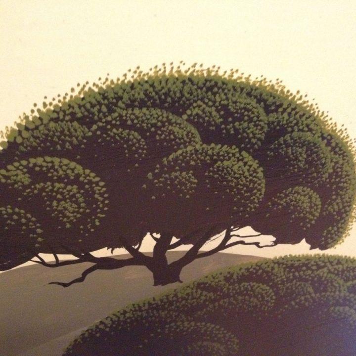 Eyvind Earle 1969 Original Signed Painting of CA Oak Trees