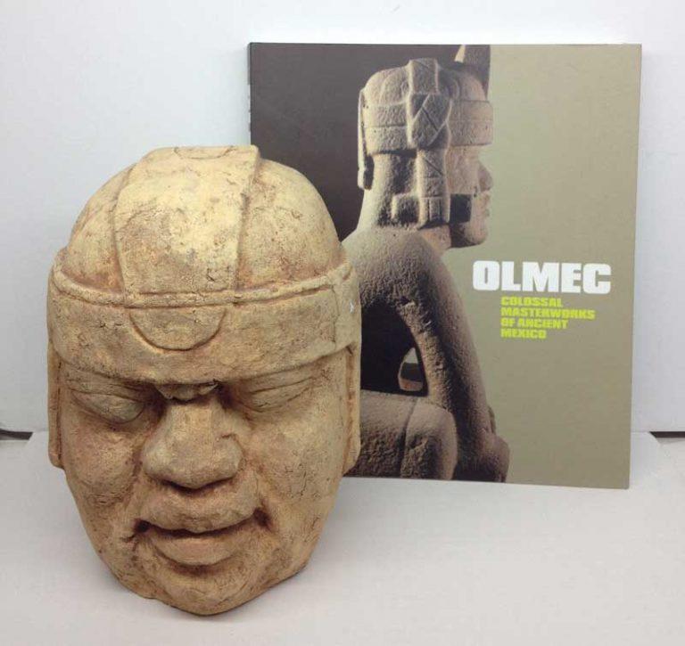 Olmec Mayan 9″ Helmeted Colossal Head Model Pre-Columbian & Olmec Book $150