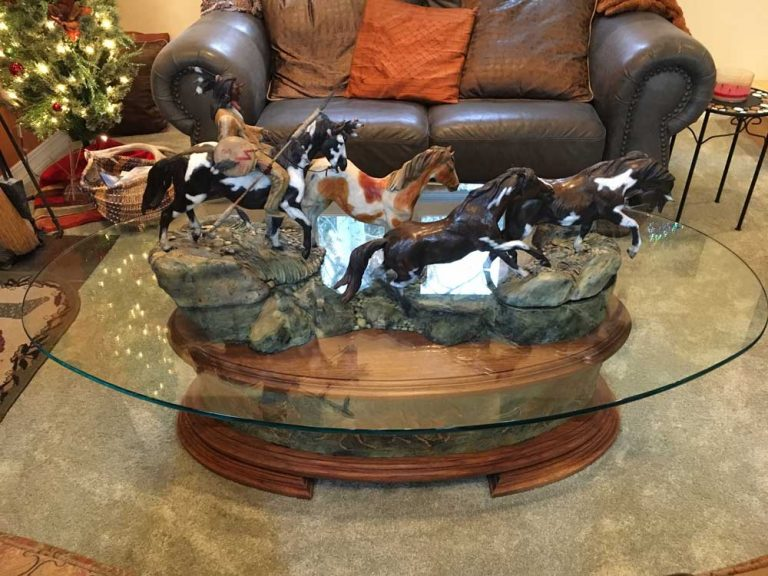 Daniel Parker Western Oval Glass Top Coffee Table with Bronze Horses & Indian