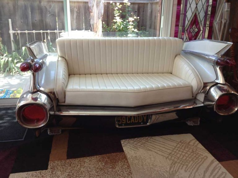 1959 Authentic Cadillac Rear End Converted Into Couch Love Seat Leather Seats