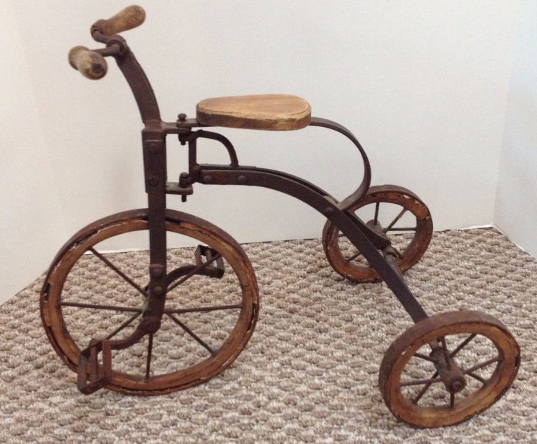 Antique Child's Tricycle with Wood and Metal Wheels