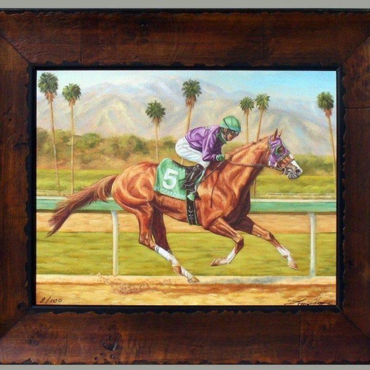 California Chrome Santa Anita Horseracing Framed Ltd Ed Giclee Print Sold For $225