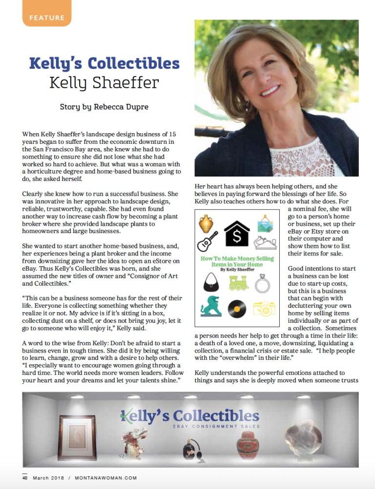 Montana Woman Magazine Feature Article on Kelly's Collectibles