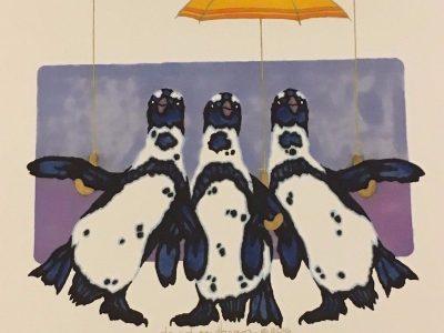 Three Fellas with Yellow Umbrellas by David Southern