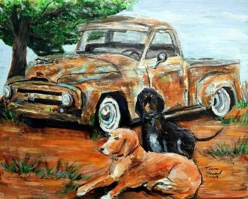 teena-stewart-dog-truck-painting