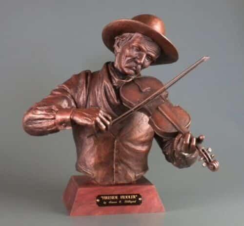 Steve Lillegard bronze sculpture man playing violin