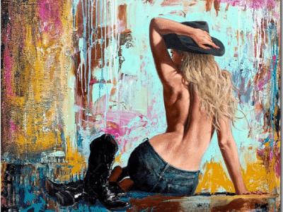 Shawn Mackey Bareback II Original Painting Cowgirl