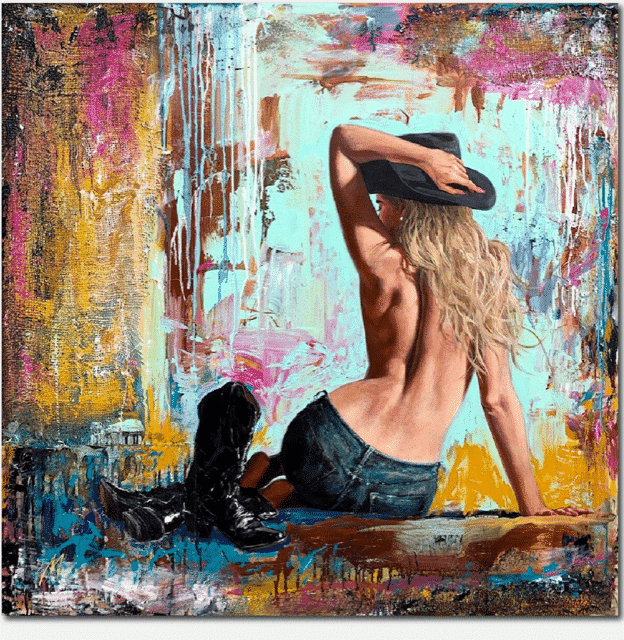 Shawn Mackey Bareback II Original Painting Cowgirl