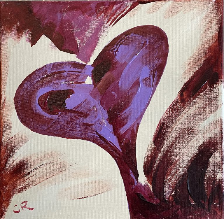 Chris Reynolds purple heart acrylic painting