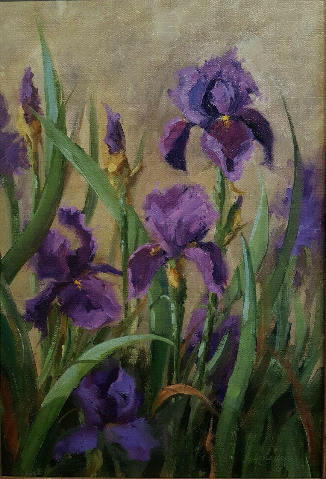 linda glover gooch purple iris flower painting