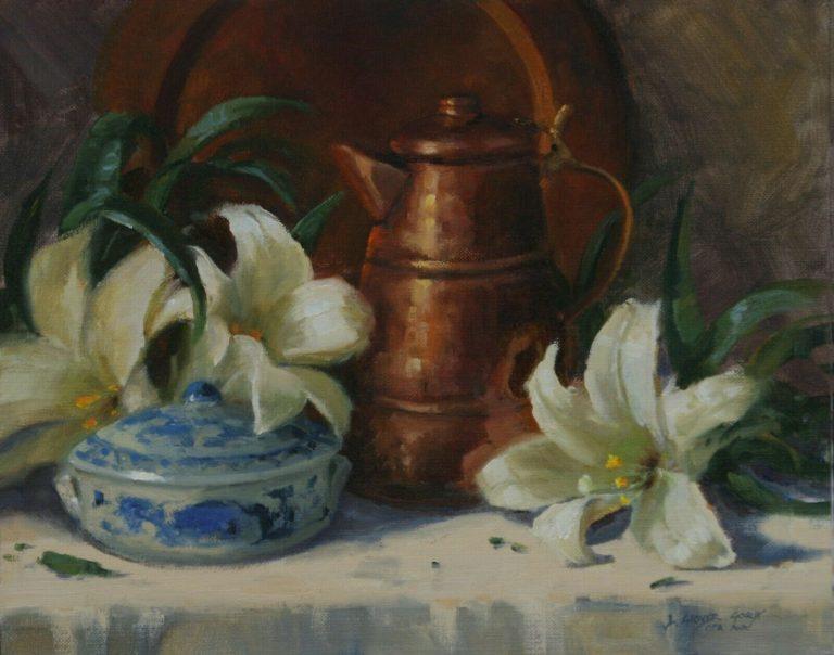 linda glover gooch white lillies still life painting