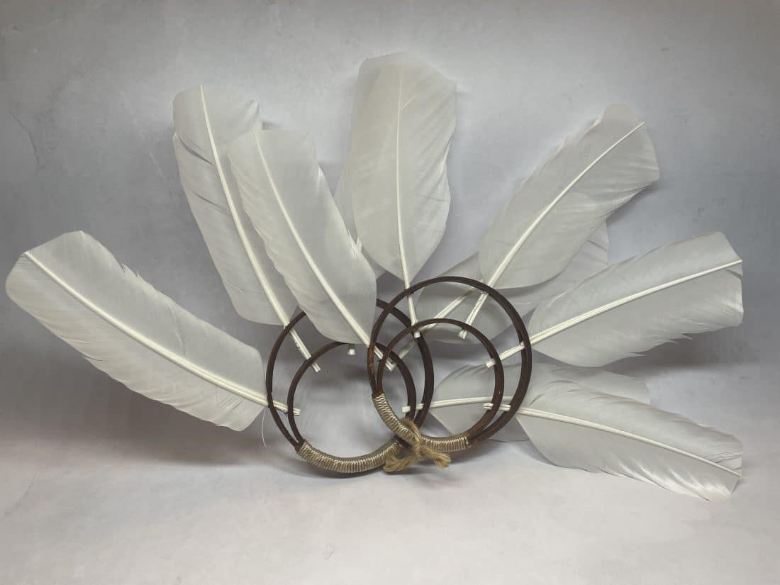 White Turkey Feather Wrist Bands Native American
