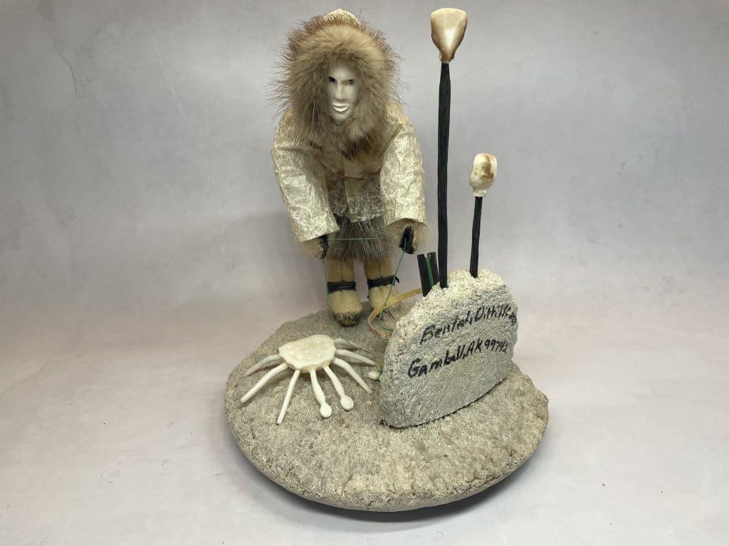 native alaskan eskimo art figurine fisherman