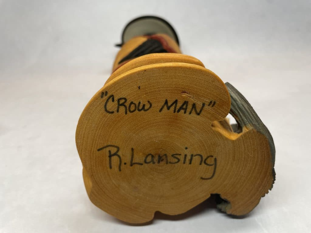carved wood crow native american lansing