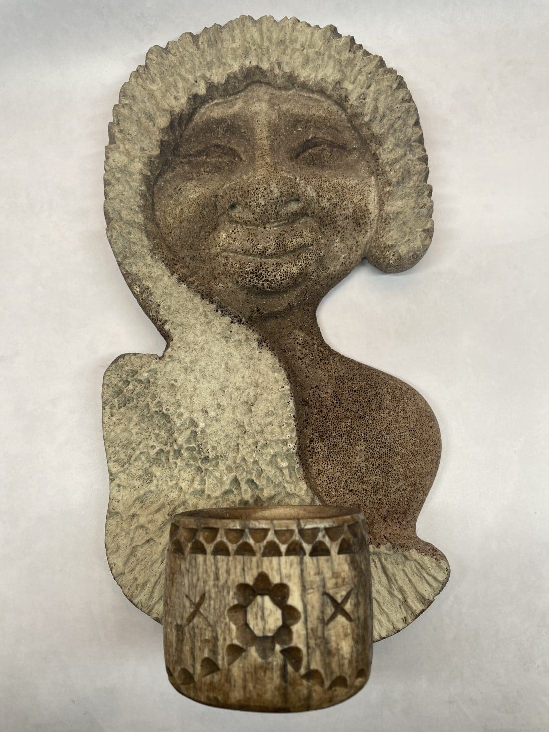 alaskan bone carved eskimo candle holder