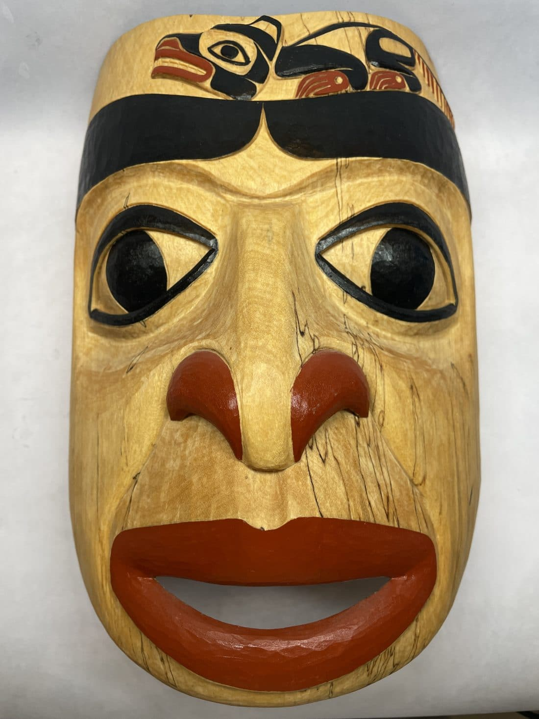 jim heaton wood carved mask wolf
