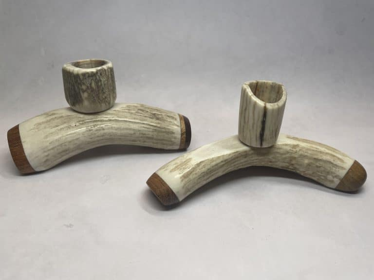 antler candle holders carved wood