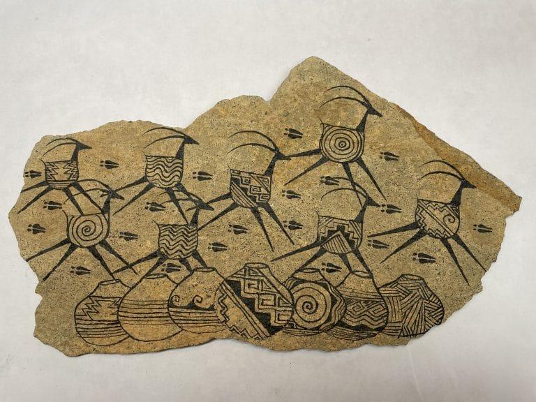 navajo sandstone painting antelope