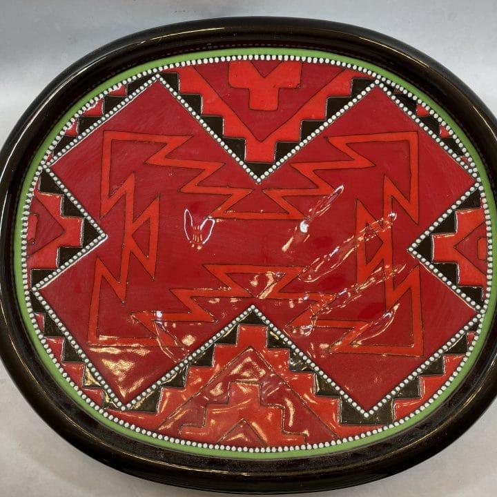 richard-st-john-clay-mesa-red-decorative-plate