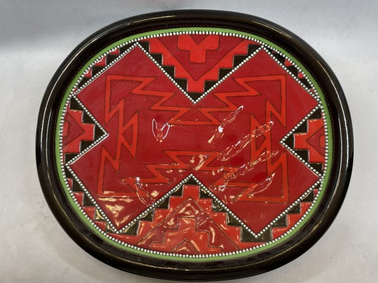 richard-st-john-clay-mesa-red-decorative-plate