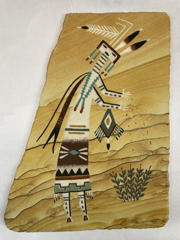 native american sandstone painting signature