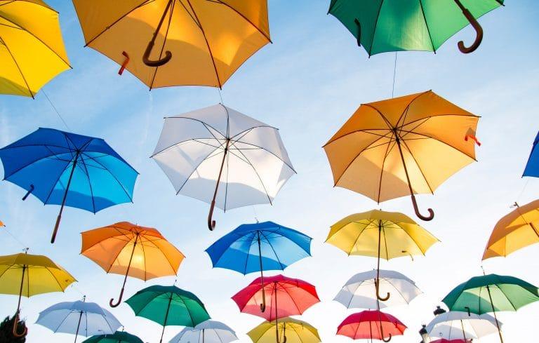 colorful-umbrellas-sky-art