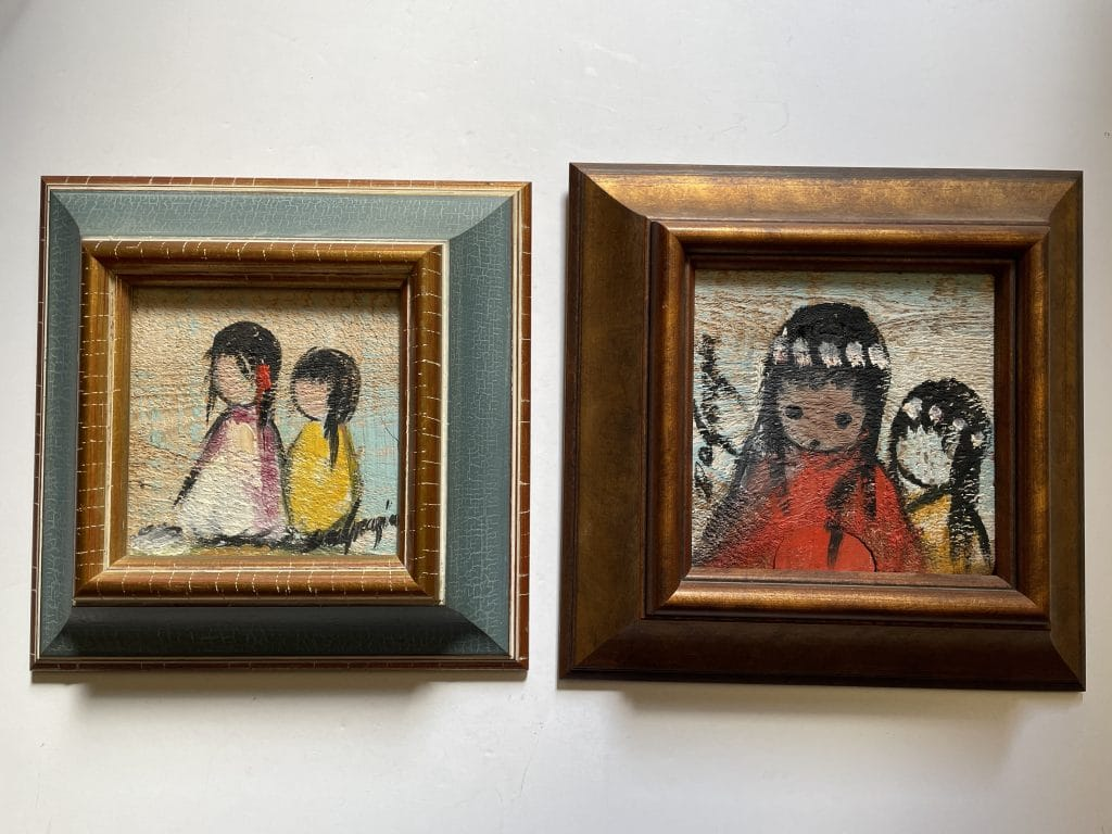 ettore ted degrazia painting on wood tiles