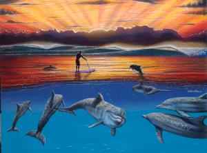 hilton alves good morning hawaii dolphins surfer painting