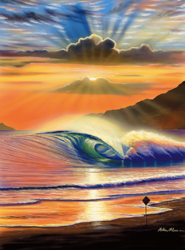 hilton alves maresias sunset wave hawaii print