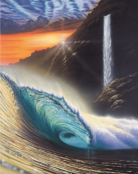 hilton alves hidden falls day hawaiian waves print