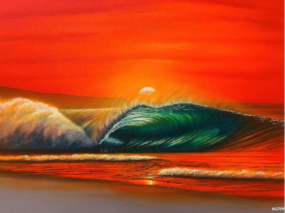 hilton alves spring break hawaii waves sunset print
