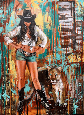 shawn mackey cleaning up town giclee print cowgirl