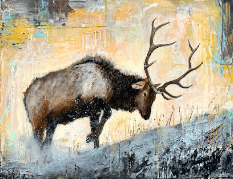 shawn mackey caught in rut bull elk painting
