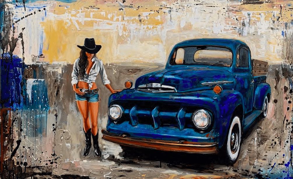 shawn mackey ford girl cowgirl original acrylic painting