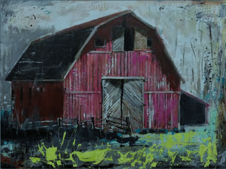 shawn mackey red barn original acrylic painting