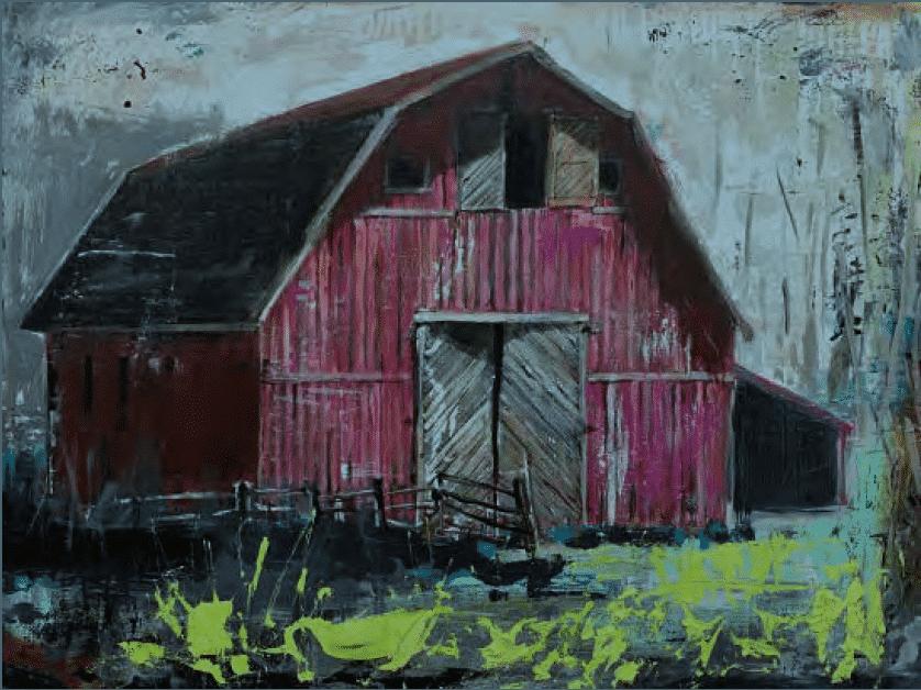 shawn mackey red barn original acrylic painting