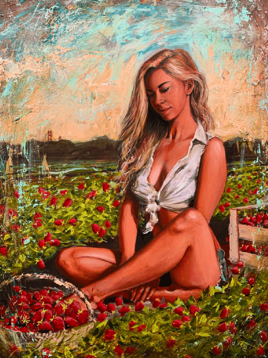 shawn mackey strawberry fields woman acrylic painting