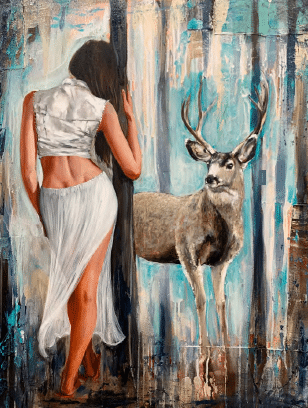 shawn mackey whitetail elk forest painting