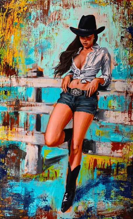 shawn macke yeehaw western girl art giclee print