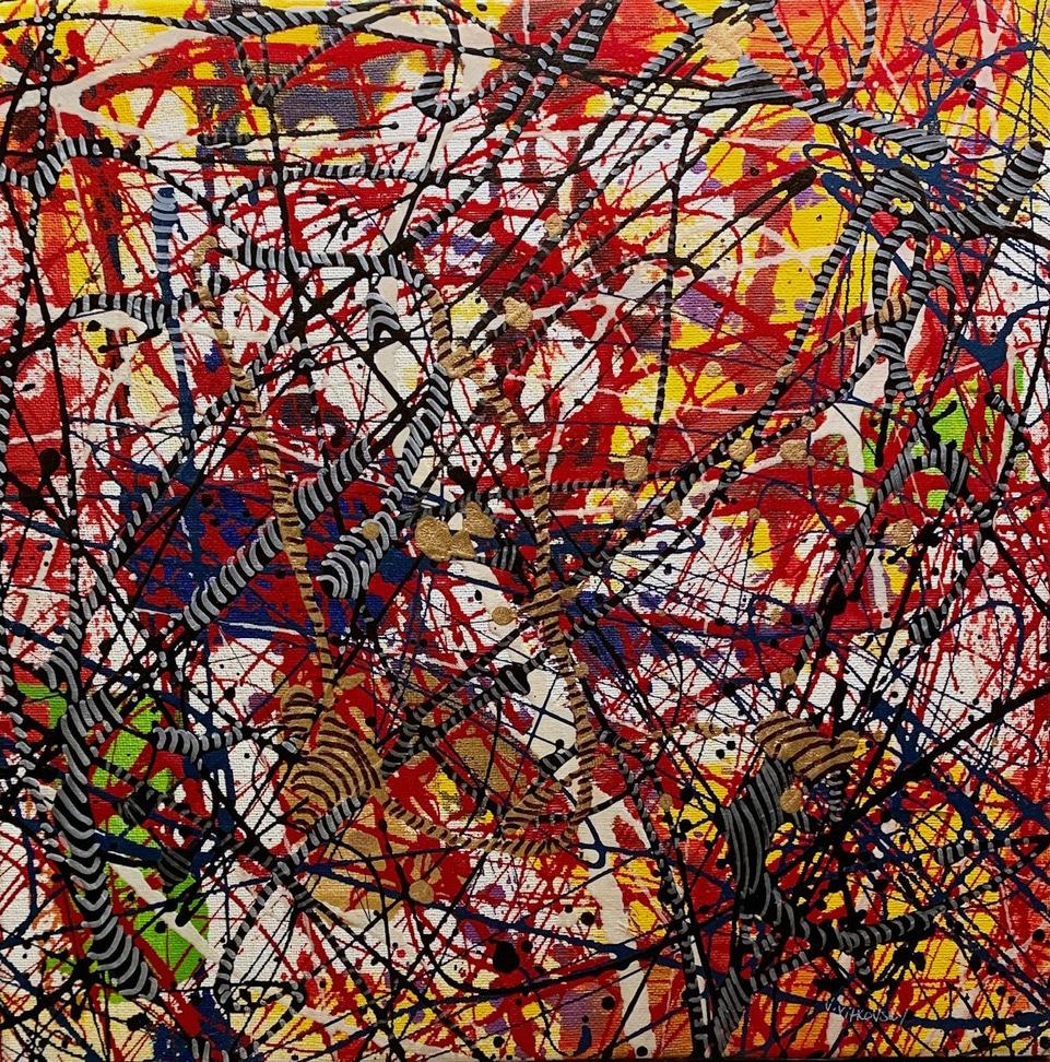 vladimir vitkovsky zebra original abstract painting