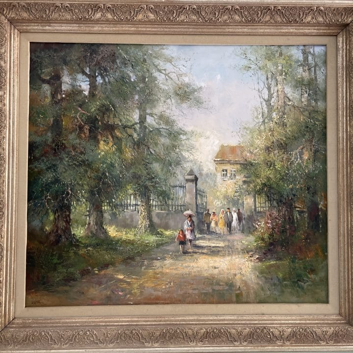 Rolf Marec 20th Century courtyard oil painting