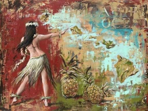 hula dancer map of Hawaiian islands