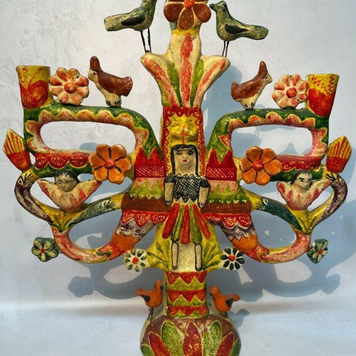 folk art candle holder
