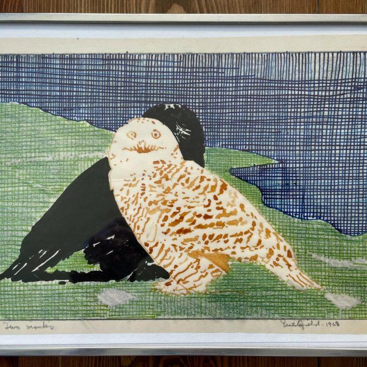 crutchfield two monks owl watercolor